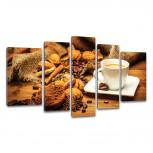 Kunstdruck -  5-teilige Leinwand - Kaffee