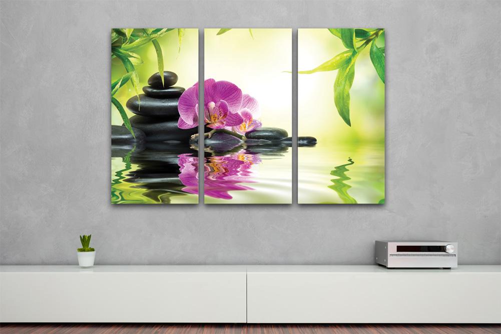 kunstdruck bambus orchidee auf leinwand 3 teilig 120x80cm. Black Bedroom Furniture Sets. Home Design Ideas