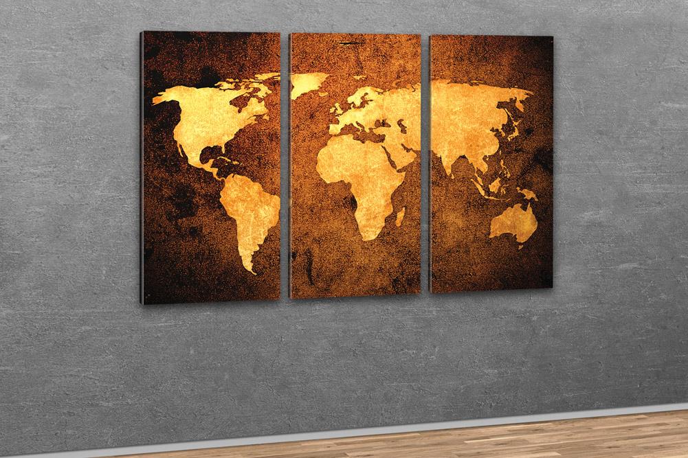 Weltkarte auf leinwand xxl im bronze design for Kuchenbilder auf leinwand