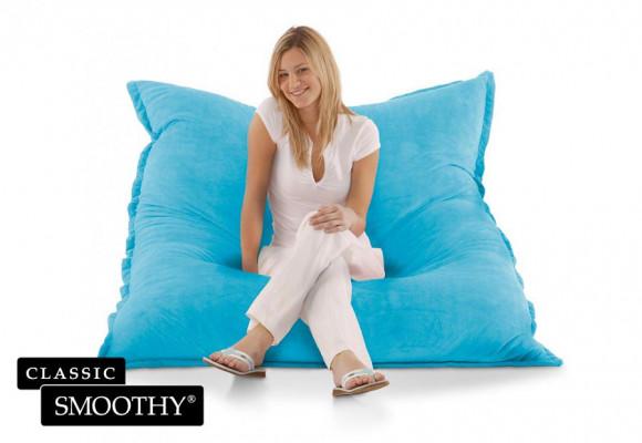 Smoothy Sitzsack Cotton Samt in Hell-Blau