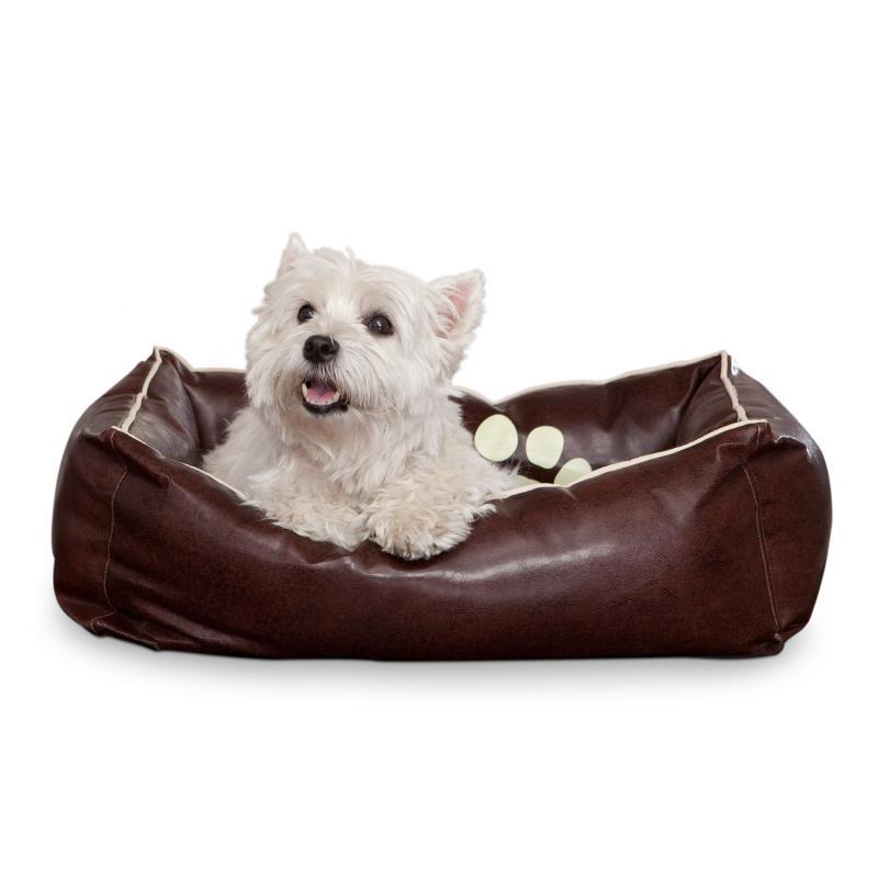 Smoothy Hundebett Leder Braun