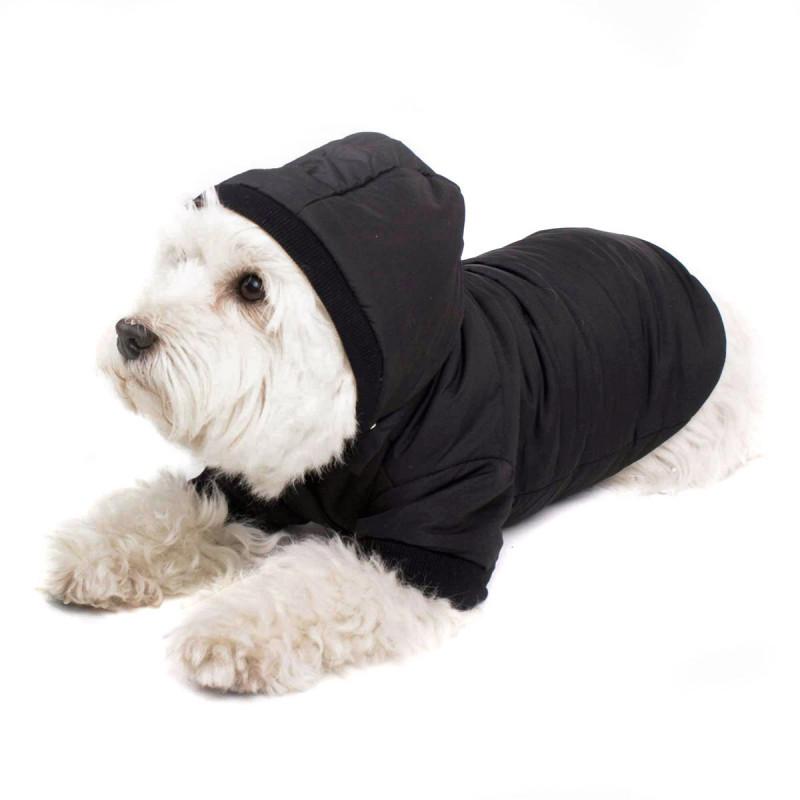 Schwarzer Hundemantel mit Kapuze