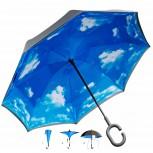 Gedrehter Reverse Regenschirm mit Himmel Aufdruck