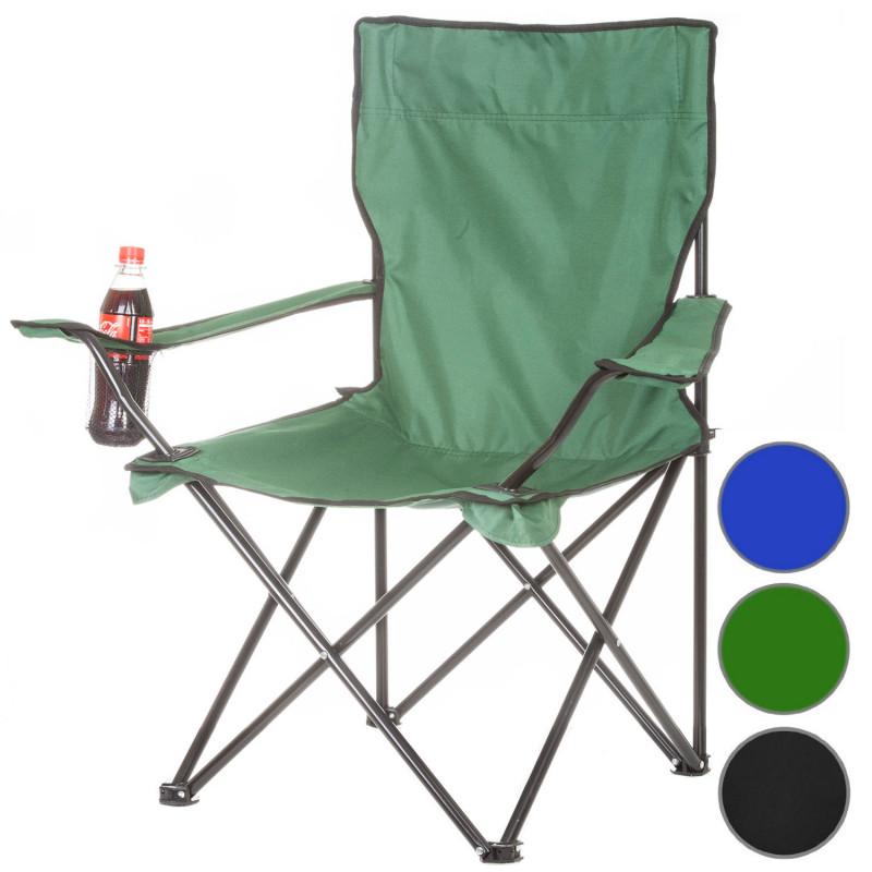 Campingstuhl mit Getränkehalterung grün