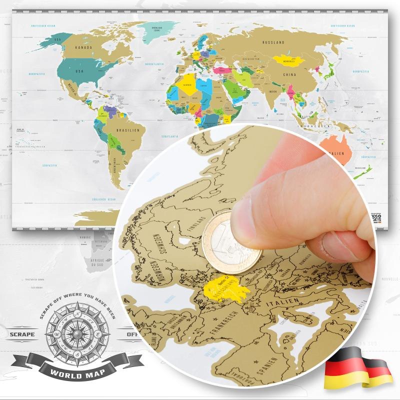 Weltkarte zum Rubbeln Deluxe - Original Scratch off World Map XXL