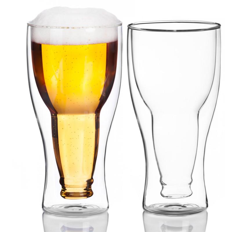 Doppelwandiges Bierglas mit Bierflasche Upside Down