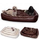 Smoothy Hundebett - Design Hundekissen aus Leder - Braun