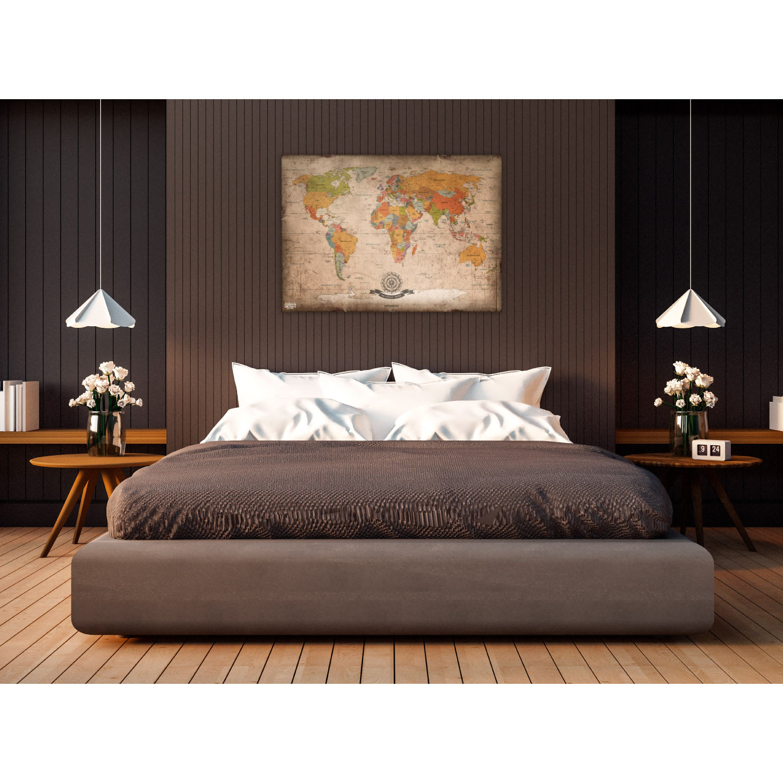 antike weltkarte poster mit fahnen im xxl format 140x100cm. Black Bedroom Furniture Sets. Home Design Ideas