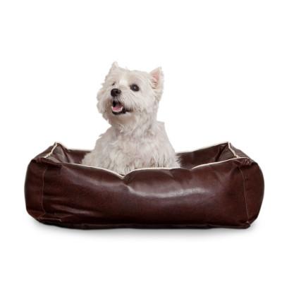 Smoothy Hundebett - Hundekissen aus braunem Leder - Gr. L