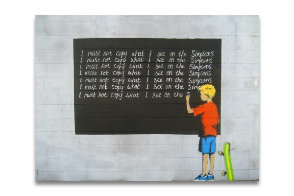 Banksy Kunstdruck - Leinwand mit Keilrahmen - Simpsons