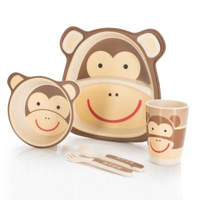 Kindergeschirr aus Bambus - Bambusgeschirr für Kinder - Affe