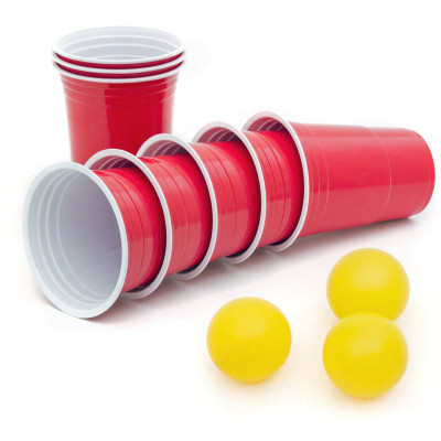 50 Rote Trinkbecher - Red Party Beer Pong Cups + 3 Bälle