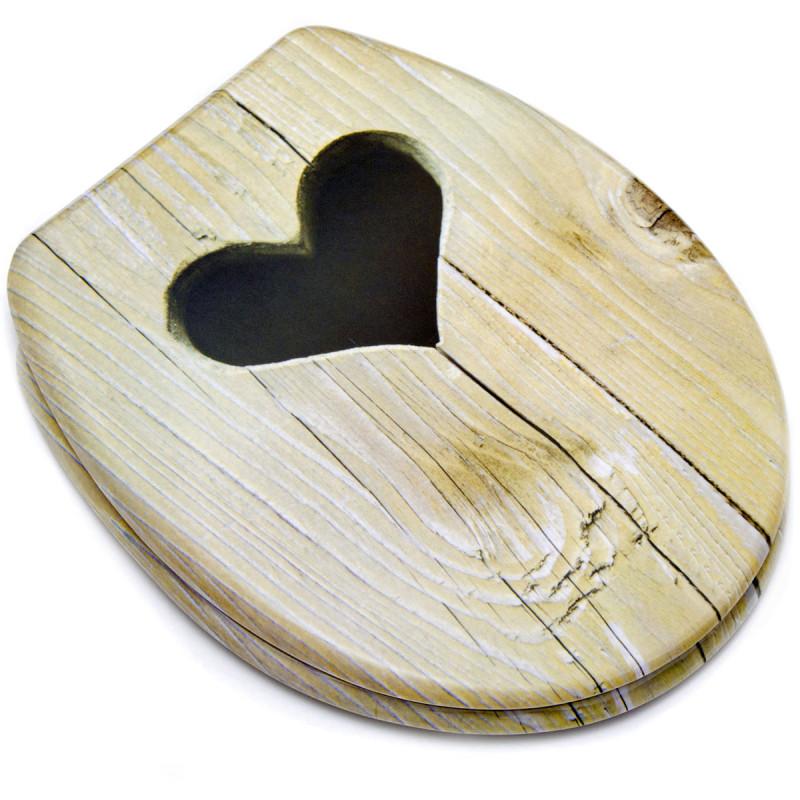 WC Sitz mit Holz Herz Dekor