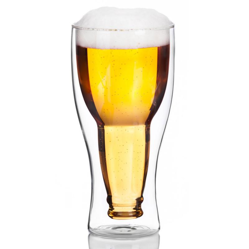 Bierglas mit Bierflasche
