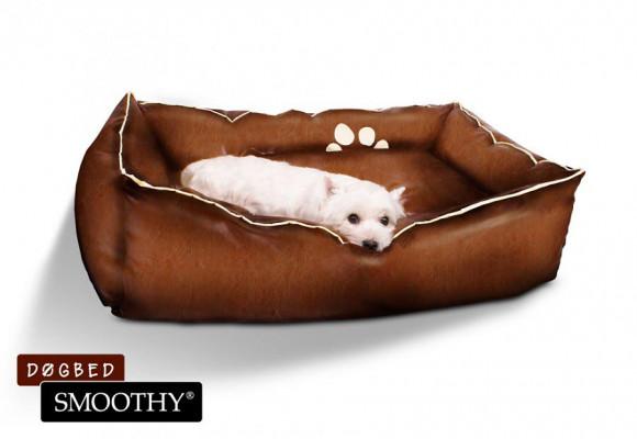 Hundebett aus Leder Größe M Braun