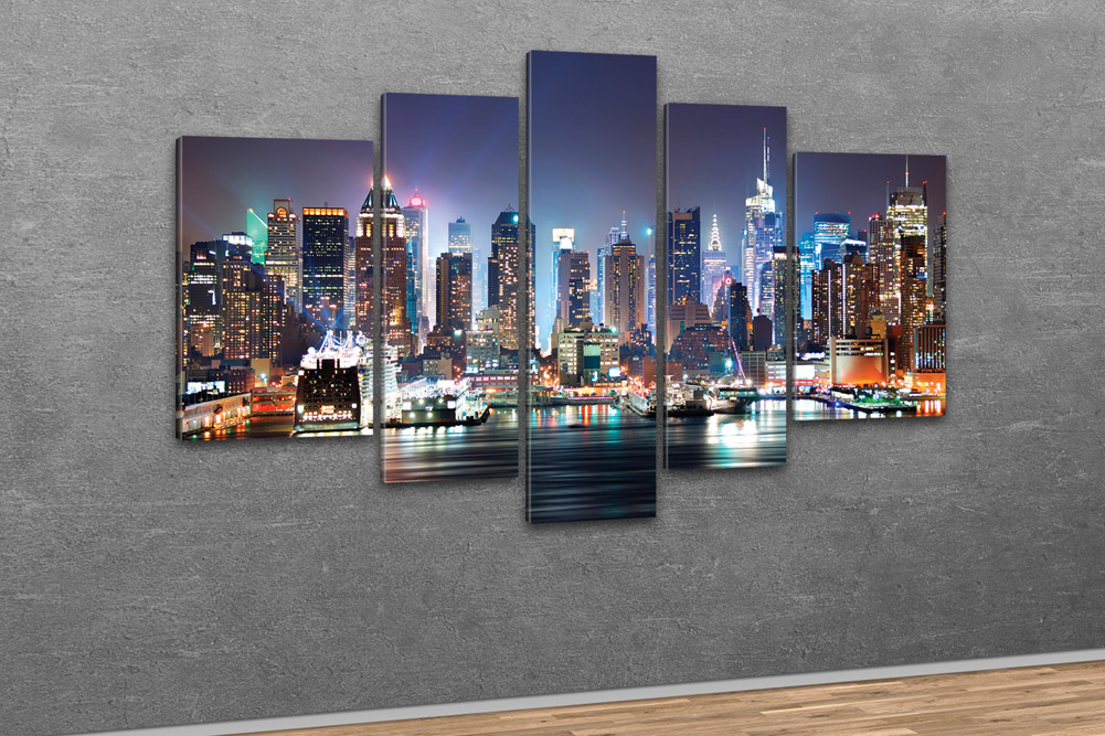 kunstdruck new york city skyline manhattan bei nacht. Black Bedroom Furniture Sets. Home Design Ideas
