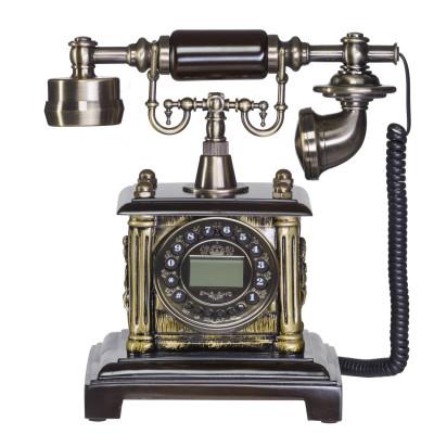 Antikes Nostalgie Telefon mit Kurbel und Wählscheibe aus Messing