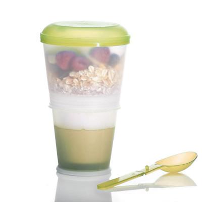 Müsli 2 Go Becher - Cerealien to Go mit gekühlter Milch & Löffel