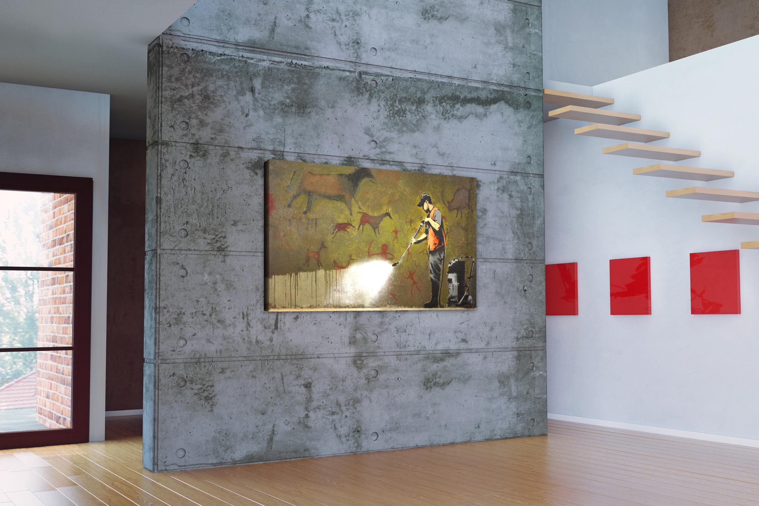 banksy kunstdruck leinwand mit keilrahmen graffiti removal. Black Bedroom Furniture Sets. Home Design Ideas