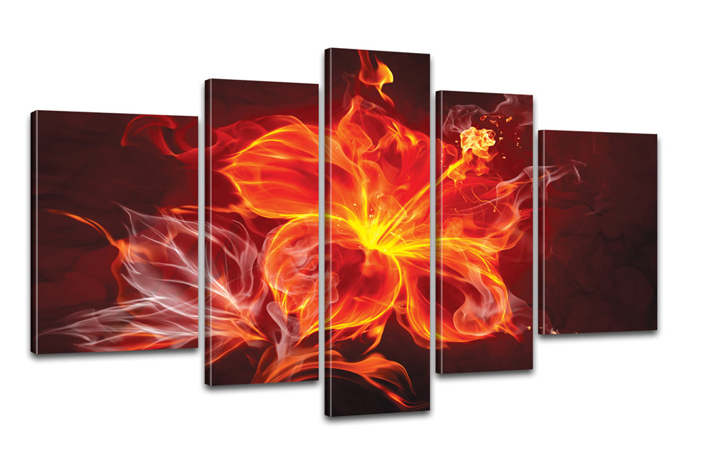 kreativer kunstdruck fire flower 170x100cm auf leinwand. Black Bedroom Furniture Sets. Home Design Ideas