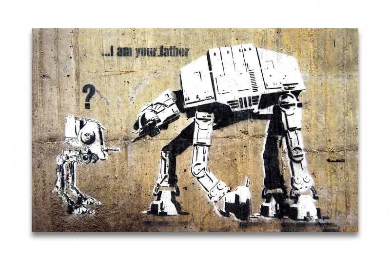 Banksy Kunstdruck - Leinwand mit Keilrahmen - I am your father