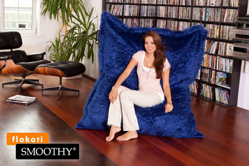 Smoothy Sitzsack Flokati blau