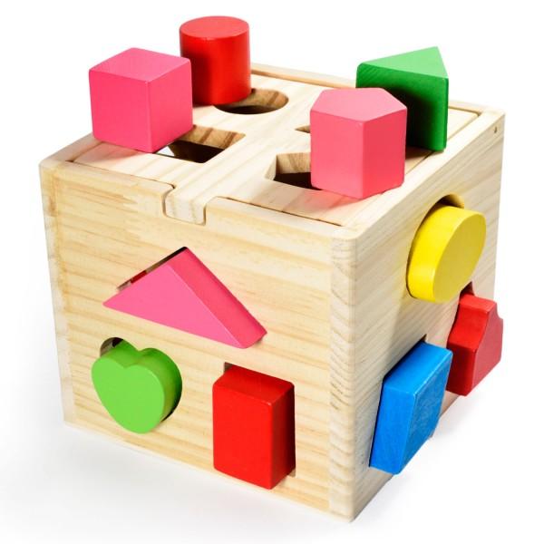 Steckwürfel Kiste aus Holz Baby Stapel und Steckspielzeug