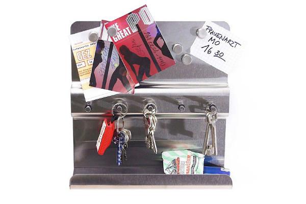 Edelstahl Schlüsselbrett Pinnwand inkl 5 Magneten