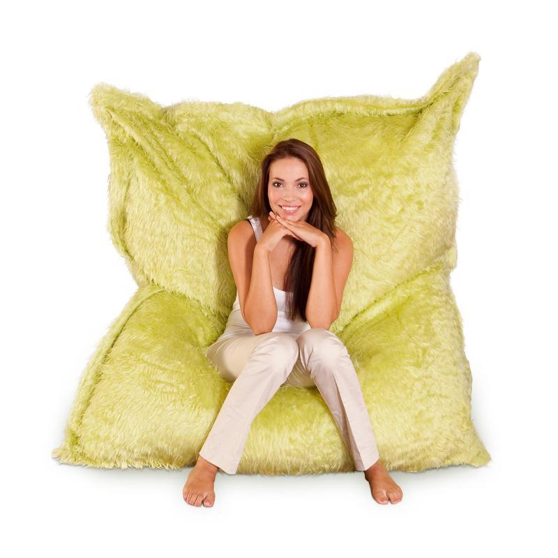 Smoothy Sitzsack Flokati limonen-grün