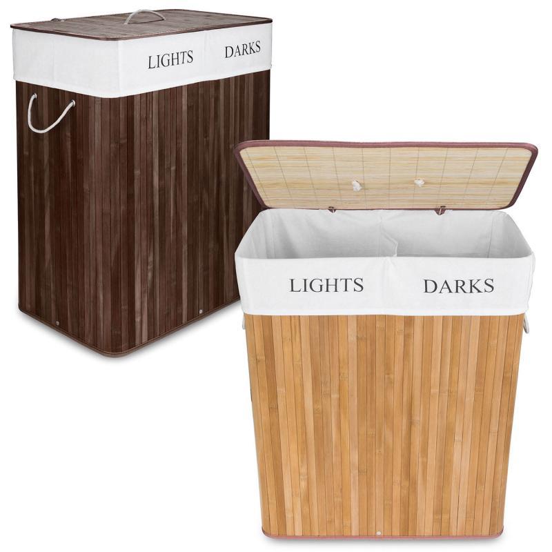 Wäsche Sortierer aus Bambus mit zwei Fächern