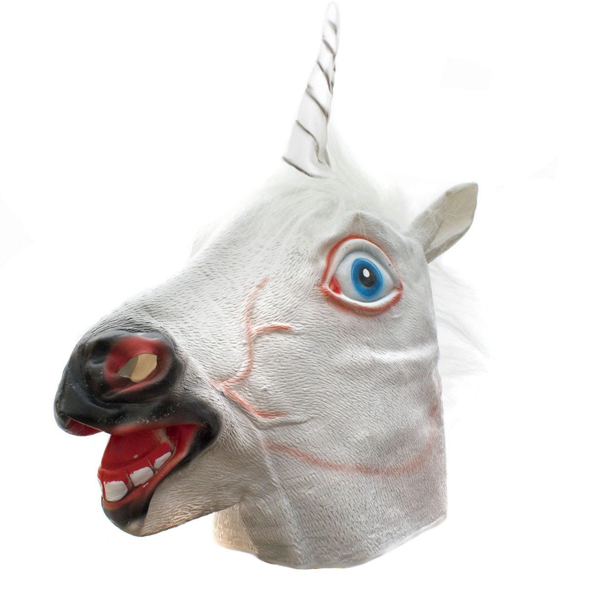 einhorn maske latex wei e einhornmaske karneval pferdemaske. Black Bedroom Furniture Sets. Home Design Ideas