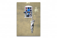 Banksy auf Leinwand - Liebhaber am Fenster