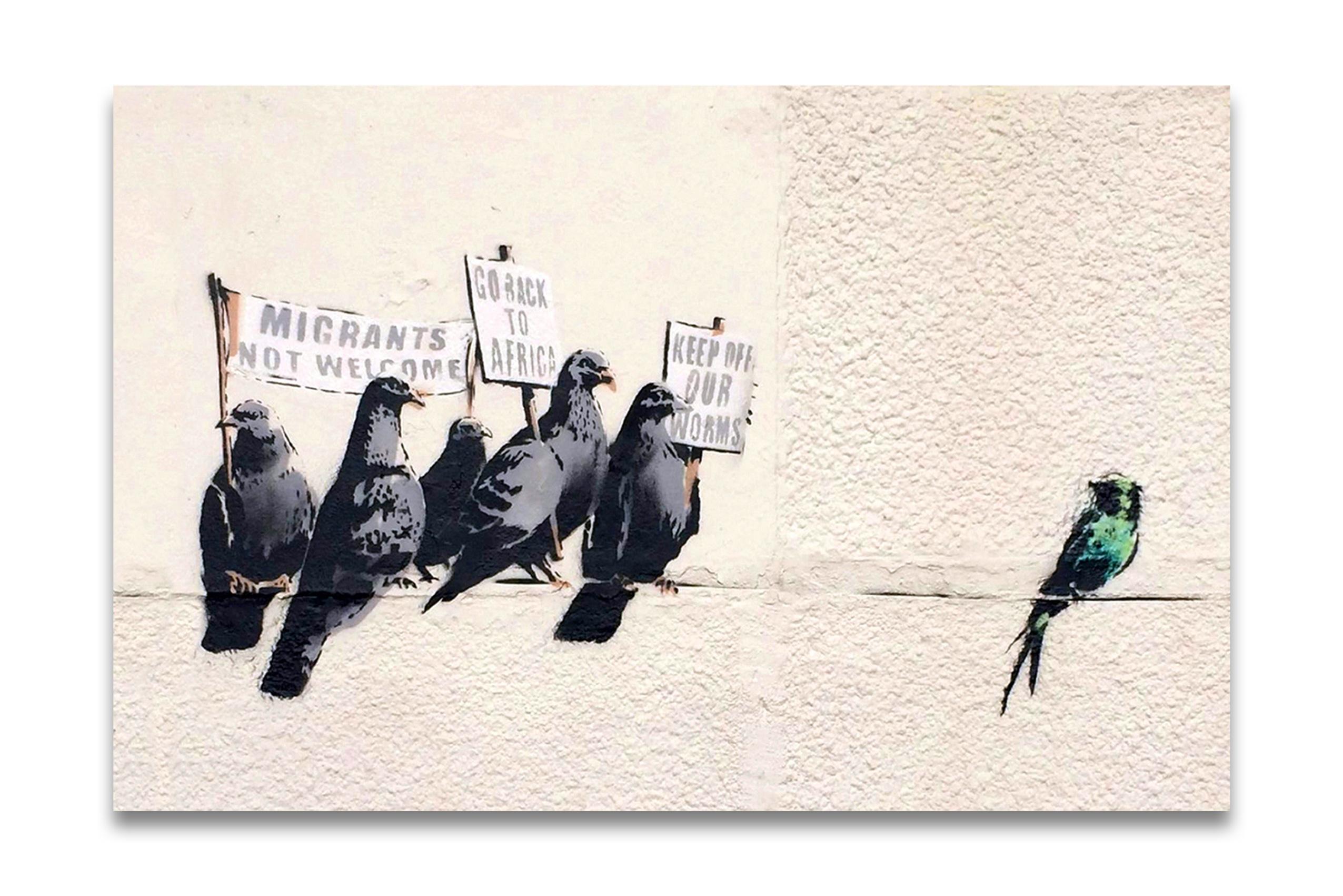 Kunstdruck Leinwand kunstdruck auf leinwand banksy immigration birds 90x60cm