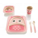 Kindergeschirr - Praktisches Kindergeschirr-Set - Owl Pink