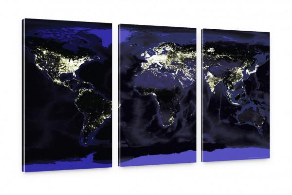 Earthlight Kunstdruck: Weltkarte bei Nacht Bilder 150x100cm