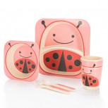 Kindergeschirr aus Bambus - Bambusgeschirr für Kinder - Marienkäfer