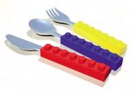 Snack & Stack Besteck Set Kinderbesteck im Bausteine Look