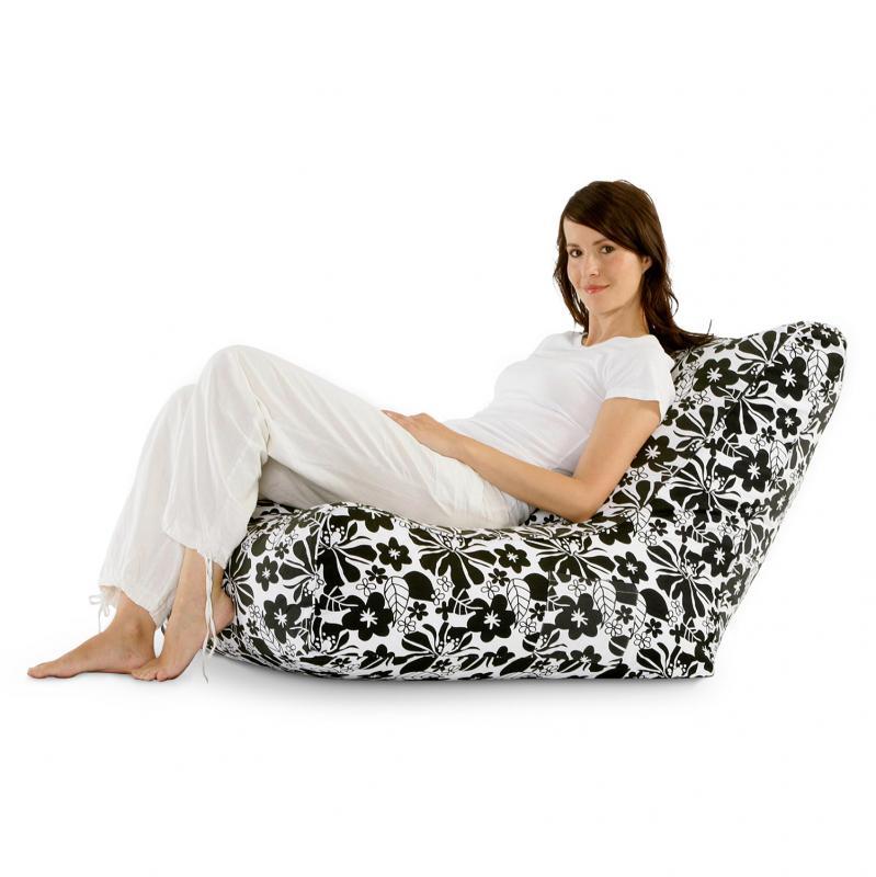 Sitzsack Lounge Chair Schwarz-Weiss