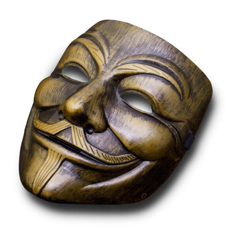 Vendetta Maske Anonymous Luxus Maske in Bronze Gold