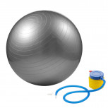 Gymnastikball - silberner Sitzball 65cm mit Pumpe - Geheimshop.de
