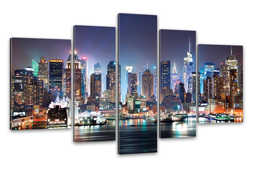 kunstdruck new york city skyline manhattan bei nacht. Black Bedroom Furniture Sets. Home Design Ideas