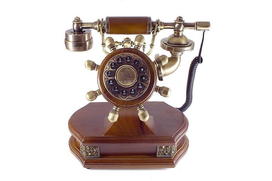 nostalgie telefon antik look mit holz und messing. Black Bedroom Furniture Sets. Home Design Ideas