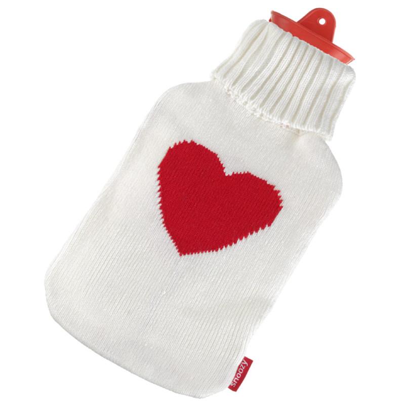 Wärmflasche mit rotem Herz Motiv