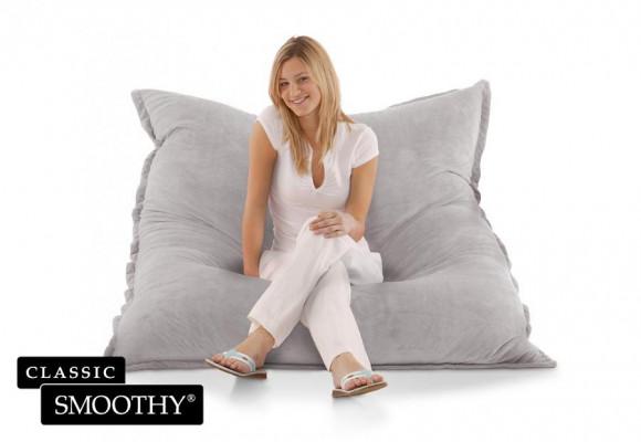 Smoothy Sitzsack Cotton Samt in Grau