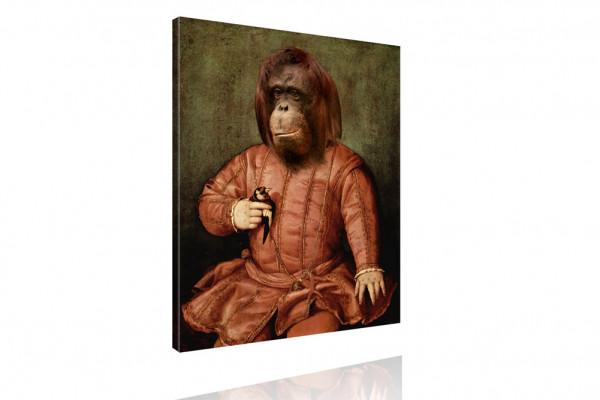 Kunstdruck - Klassisches Gemälde mit Twist - Musikant Orang-Utan