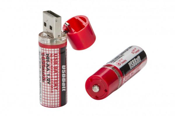 USB Batterie AA Mignon 2er Set USB Akkus