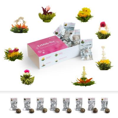 Erblühtee Geschenkset mit 8 verschiedenen Teeblumen