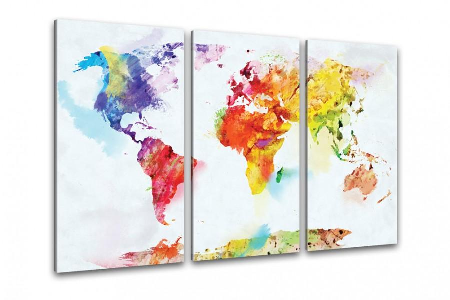 Kunstdruck Weltkarte Aquarell