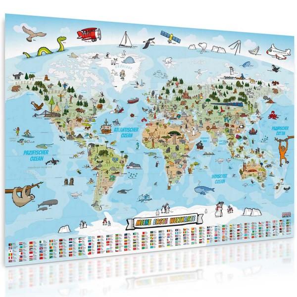Kinder Weltkarte XXL handgezeichnete Panorama Weltkarte für Kinder