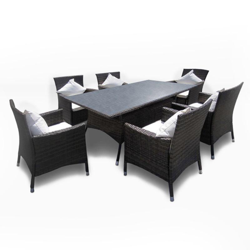 Essgruppe mit Esstisch und 6 Stühlen aus Rattan